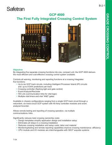 GCP 4000 The First Fully Integrated Crossing Control System