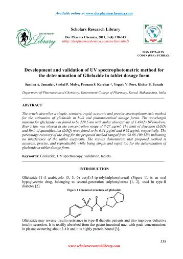 uv spectrophotometric method of captopril biology essay The inhibition percentages of the tomato extracts, captopril and ethanol were determined using the method described above, replacing the 50 µl of buffer with the same volume of the samples dissolved at concentration of 1mg/ml.