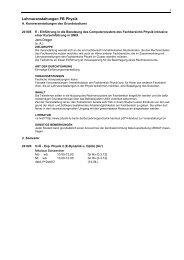 Lehrveranstaltungen FB Physik - Fachbereich Physik