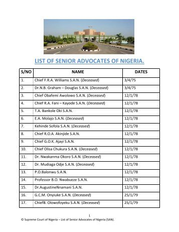 list of senior advocates of nigeria. s/no name dates - Resourcedat