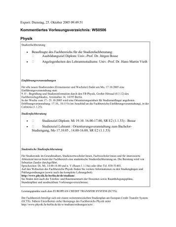 Kommentiertes Vorlesungsverzeichnis WS0506 - Fachbereich Physik