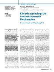 Klinisch-psychologische Interventionen mit Mobilmedien Ein neues ...