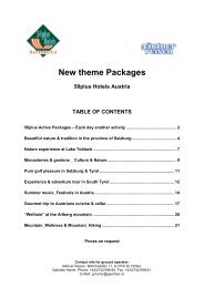 New theme Packages 50plus Hotels Austria TABLE OF CONTENTS