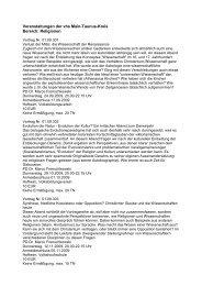 Veranstaltungen der vhs Main-Taunus-Kreis Bereich: Religionen