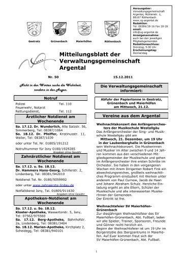 Mitteilungsblatt der Verwaltungsgemeinschaft Argental - bei der ...