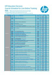 HP education services course schedules for Southwest courses