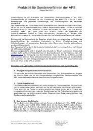 Merkblatt für Sonderverfahren