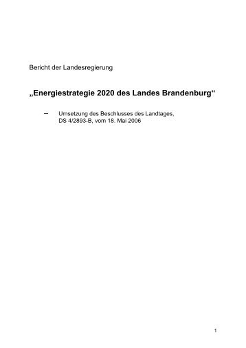 """""""Energiestrategie 2020 des Landes Brandenburg"""" - beim rbb"""