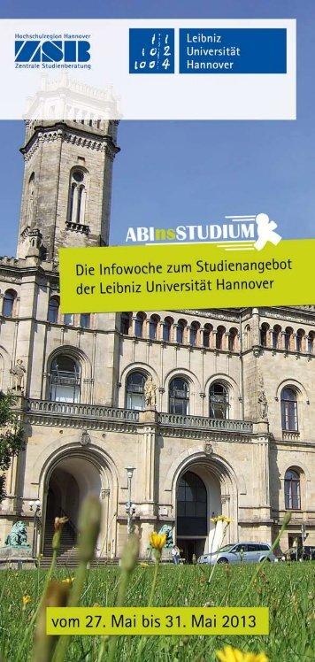 ABInsSTUDIUM Flyer 2013 - ZSB - Leibniz Universität Hannover