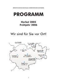 PROGRAMM Herbst 2005 Frühjahr 2006 - Kreisvolkshochschule ...