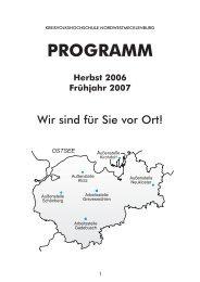 PROGRAMM Herbst 2006 Frühjahr 2007 - Kreisvolkshochschule ...
