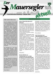 Bund Naturschutz Nürnberg – Frühjahr 2004 Aktuelle Brennpunkte: