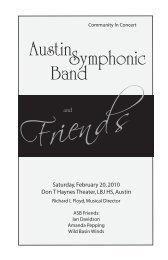 View Concert Program - Austin Symphonic Band