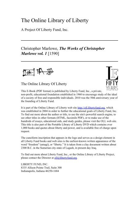Online Library of Liberty: The Works of Christopher Marlowe