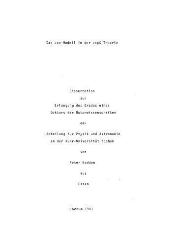 Das Lee-Modell in der expS-Theorie Dissertation zur Erlangung des ...