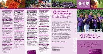 """""""Sonntags in Württemberg"""" """"Sonntags in ... - Weinerlebnistour"""