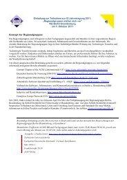 Konzept der Regionalgruppen: - Informatik 2011