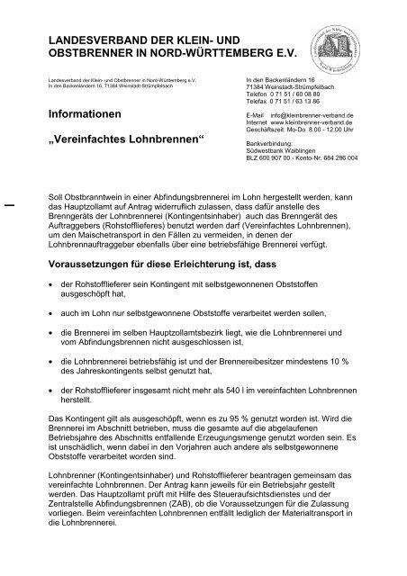 Info Vereinfachtes Lohnbrennen Landesverband Der Klein