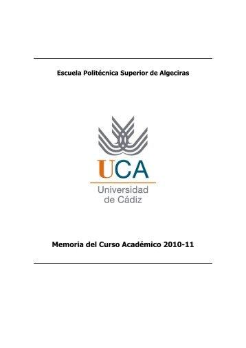 Memoria del Curso Académico 2010-11 - Universidad de Cádiz