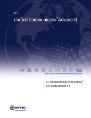 UC Advanced 4.0 Mobile for BlackBerry User Guide - Mitel Edocs