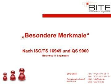 """""""Besondere Merkmale"""" Nach ISO/TS 16949 und QS 9000 ... - BITE"""