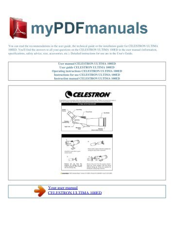 User manual CELESTRON ULTIMA 100ED