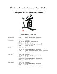 """Living Dao Today: Views and Visions"" Conference ... - Taiji-Akademie"