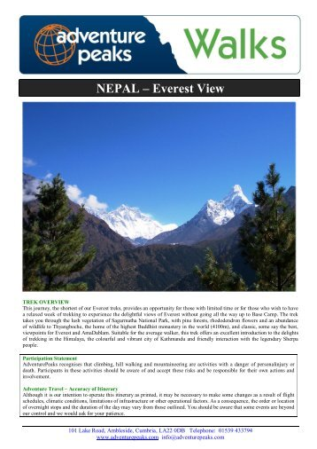 NEPAL – Everest View - Adventure Peaks
