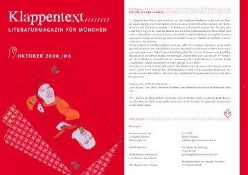 KLAPPENTEXT lesen - literatur-muenchen.de