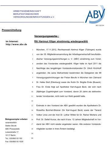 RA Hartmut Kilger einstimmig wiedergewählt - ABV
