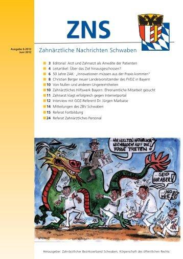 ZNS Ausgabe 6/2012 ist online - Zahnärztlicher Bezirksverband ...