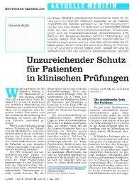 Unzureichender Schutz für Patienten in klinischen Prüfungen
