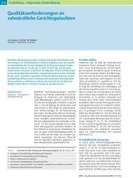 Qualitätsanforderungen an zahnärztliche Gerichtsgutachten