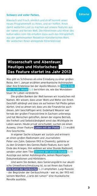 feature Die Welt im Radio. - Kulturradio