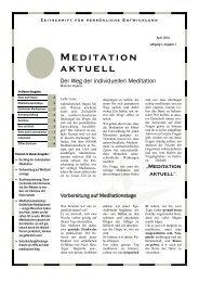 Meditation aktuell - Individuelle Meditation