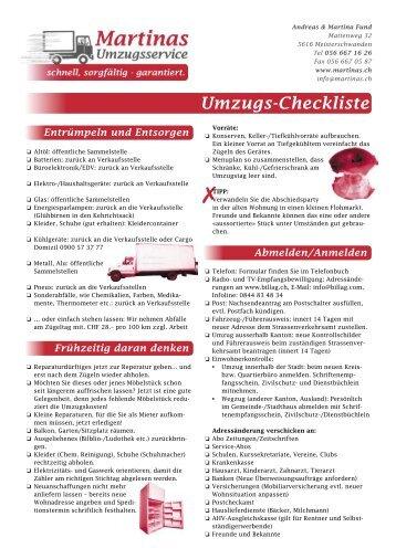 Umzugs-Checkliste Entrümpeln und Entsorgen