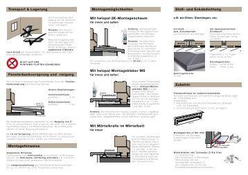 montagerichtlinien f r aluminium fensterb nke pdf format hirth. Black Bedroom Furniture Sets. Home Design Ideas