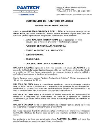 lista de productos que fabrica y comercializa railtech calomex