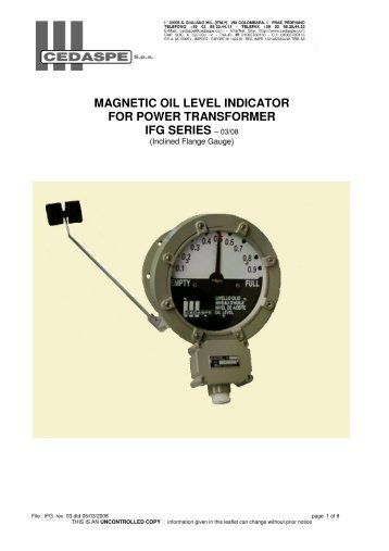 magnetic oil level indicator for power transformer ifg series - Cedaspe