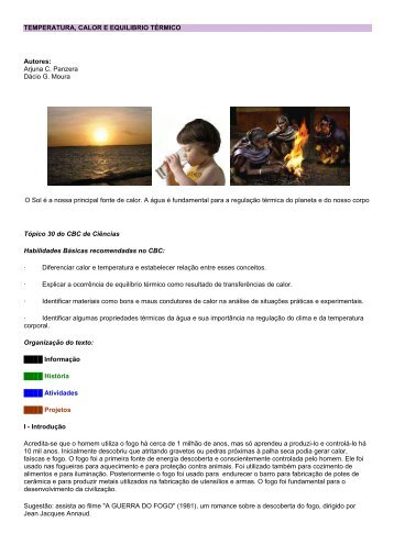 TEMPERATURA, CALOR E EQUILIBRIO TÉRMICO Autores: Arjuna ...
