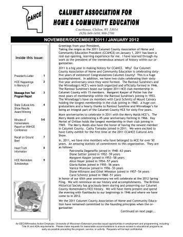 NOVEMBER/DECEMBER 2011 / JANUARY 2012 - Calumet County ...