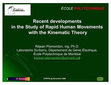 Recent Developments in the Study of Rapid Human - ICPR 2008 ...