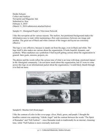 Deidre Schuetz Collect and Analyze Newsprint and Magazine Ads ...