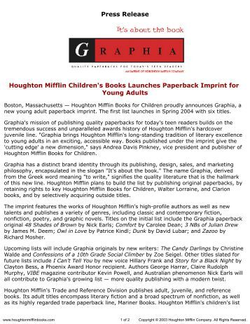 Press Release for Graphia Books published by Houghton Mifflin ...