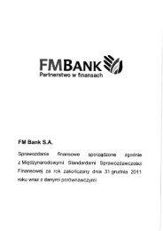 Sprawozdanie finansowe sporządzone zgodnie z ... - FM Bank
