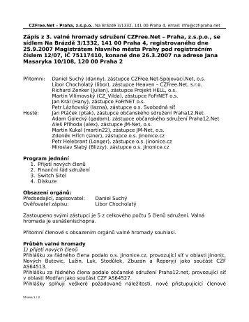 Zápis z 3. valné hromady sdružení CZFree.Net – Praha, z.s.p.o., se ...