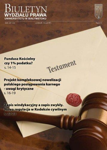 Październik- Listopad 2011 - Wydział Prawa Uniwersytetu w ...