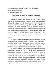 Предлог Катедре - Medicinski fakultet Univerzitet u Beogradu