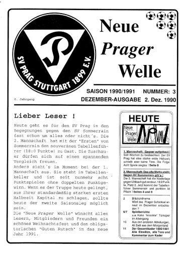 Nummer 3 vom 2. Dezember 1990 - SV Prag Stuttgart 1899 e.V