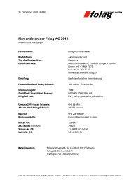 Firmendaten der Folag AG 2011